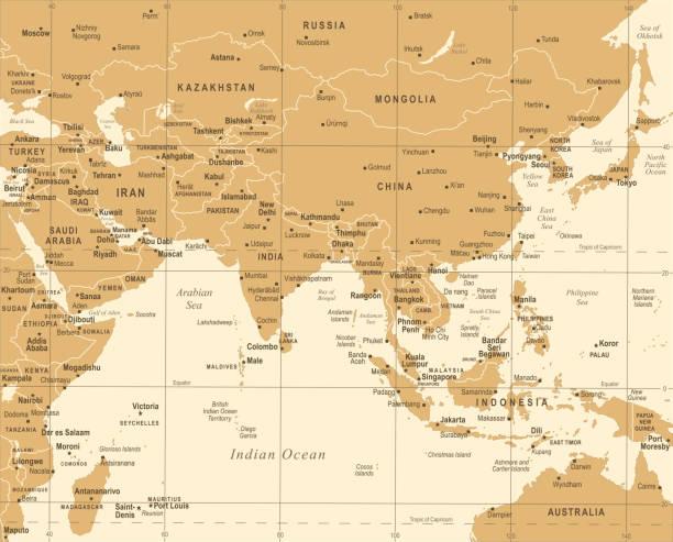 南アジアの地図 - ビンテージ ベクトル図 - アジア地図点のイラスト素材/クリップアート素材/マンガ素材/アイコン素材