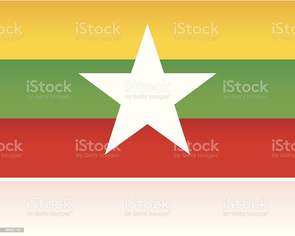 Southern Asian Flag: Myanmar vector art illustration