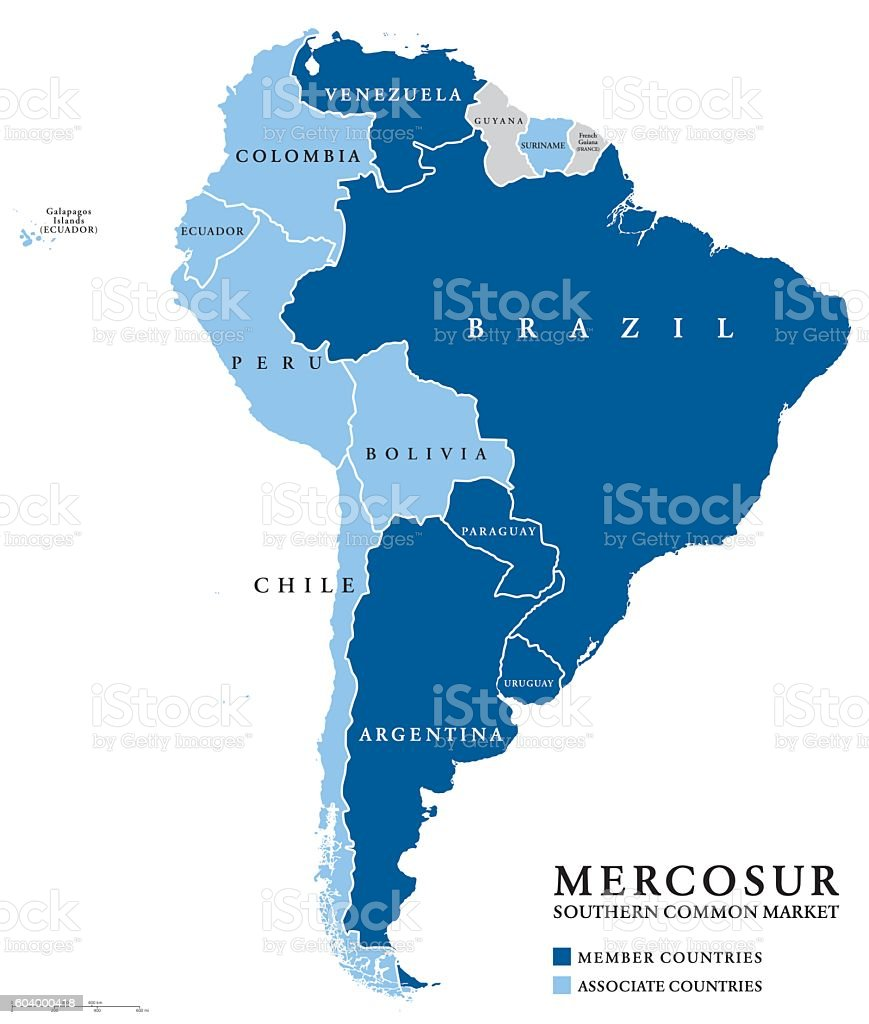 MERCOSUR Southern Common Market countries info map vector art illustration