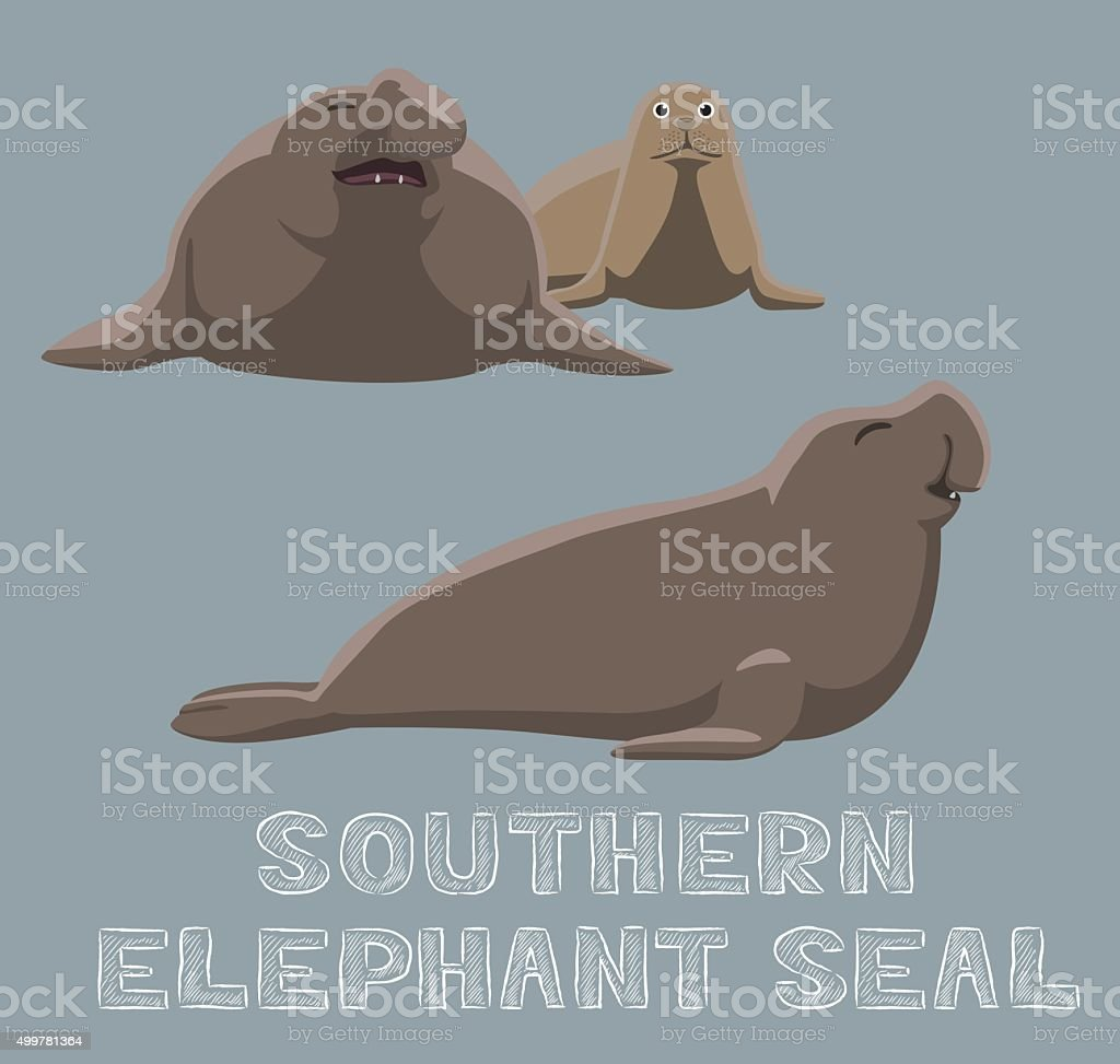 Elephant De Mer Du Sud De Dessin Anime Vector Illustration