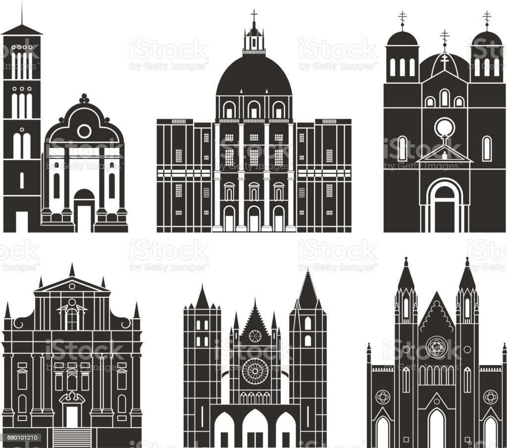Southern Europe. Architecture. Isolated European buildings on white background vector art illustration