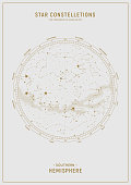 istock Southern hemisphere. Star map of vector constellations. 1211582695