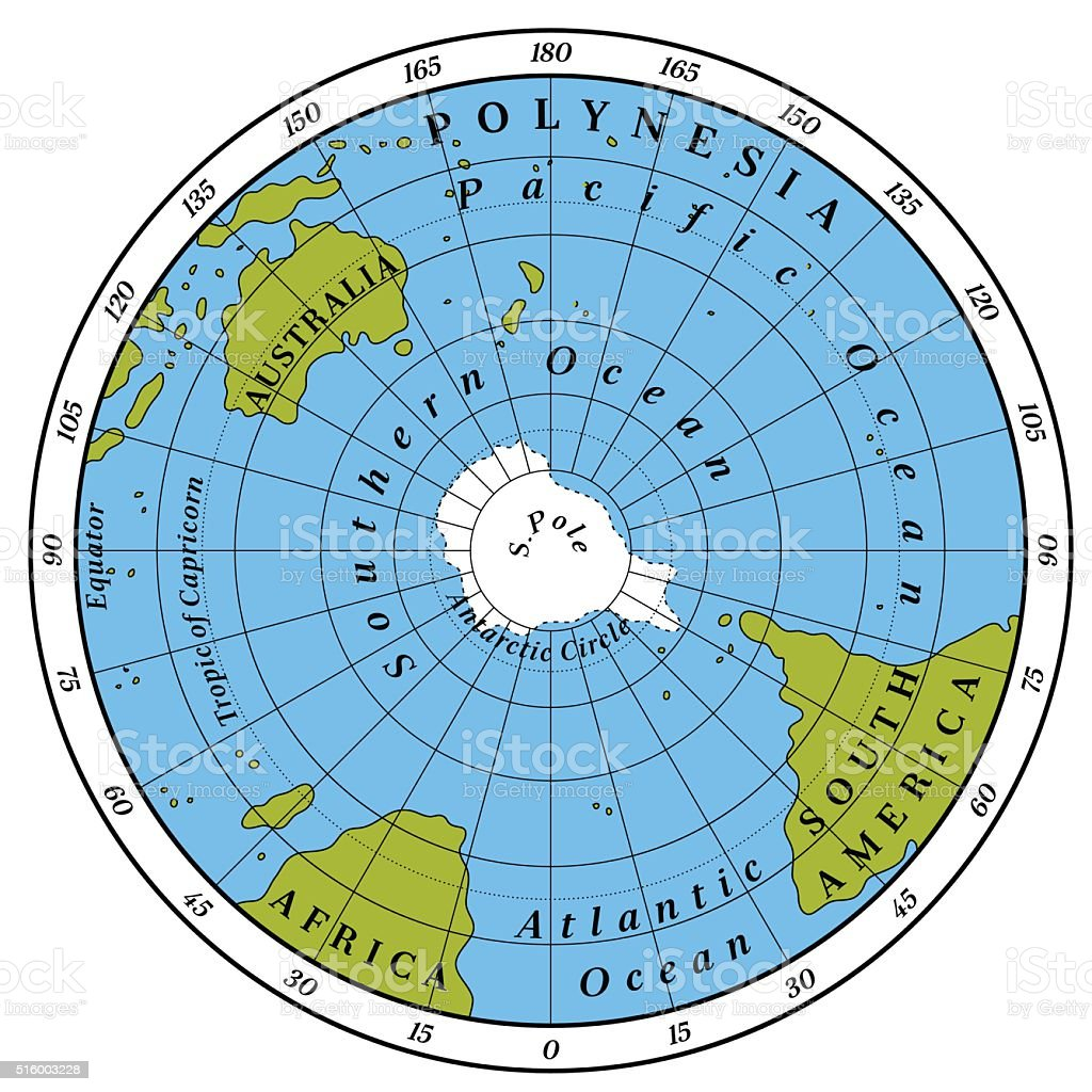 Southern Hemisphere vector art illustration