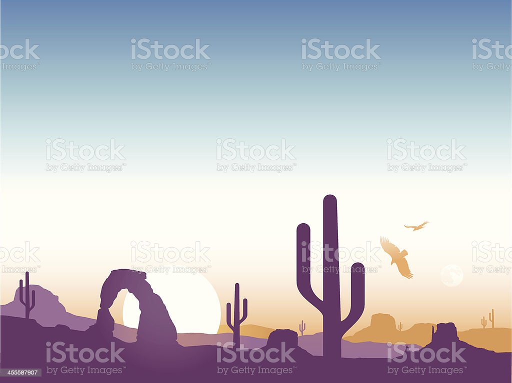 Southwest Cactus Background vector art illustration
