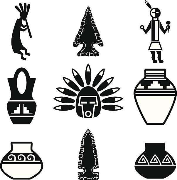 bildbanksillustrationer, clip art samt tecknat material och ikoner med southwest native american artifacts - flöjt