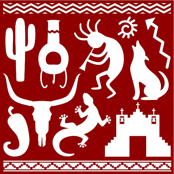 Southwestern Elements Vector illustrations with a southwestern theme. silhouette of a howling coyote stock illustrations
