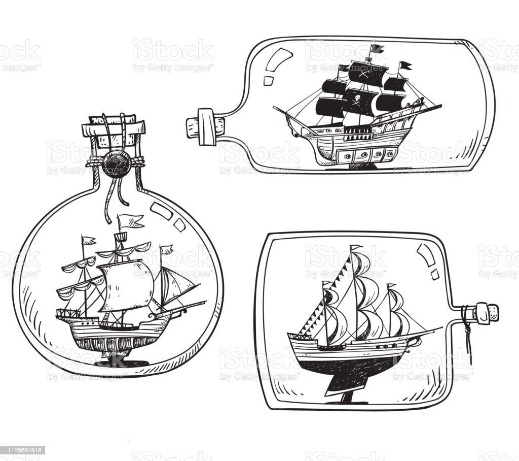 Souvenir De La Mer Bateau Dans Une Bouteille Ensemble De Dessins Vectoriels Vecteurs Libres De Droits Et Plus D Images Vectorielles De Art Istock