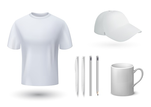 Souvenirs mockup. Realistic t-shirt and cap, mug and pens. 3D blank templates for brand identity. Stationary, clothing and utensil with place with logo. Vector corporate marketing set