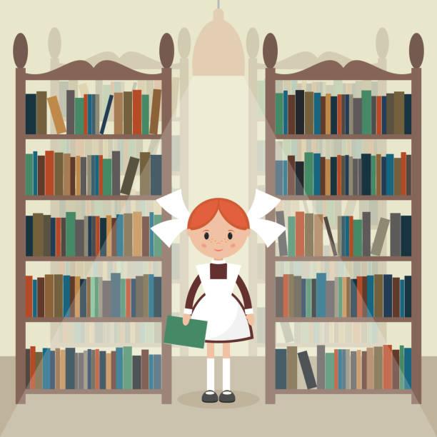 Soviet cartoon schoolgirl in library. Soviet cartoon schoolgirl in library. Soviet schoolgirl in school uniform.  Flat vector illustration. EPS 10. sergionicr stock illustrations
