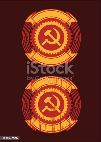 Soviet emblem, one made with grunge technique
