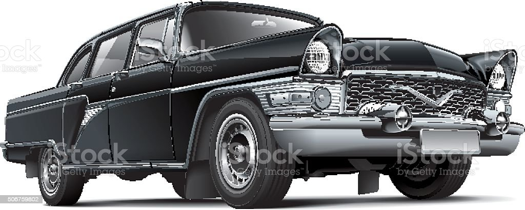 Soviet luxury car vector art illustration
