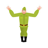 Soviet soldier confused emoji oops. Retro Russian warrior asleep perplexed emotions.  surprise Military in Russia. Illustration for 23 February. Defender of Fatherland Day. Army holiday for Russian Federation