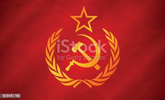 Soviet Union flag concept illustration. EPS 10 file. Transparency effects used on highlight elements.