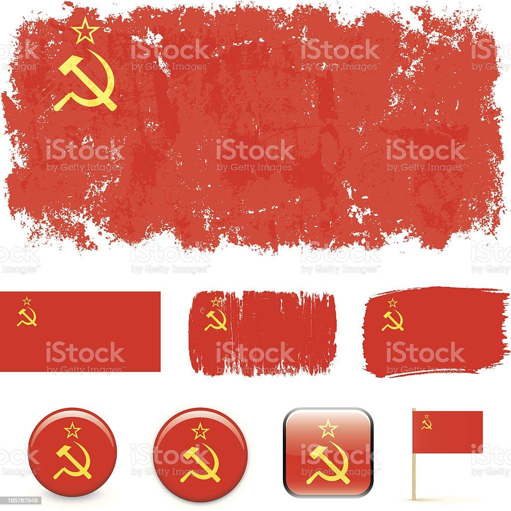 Soviet Union flags vector art illustration