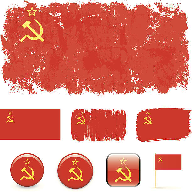 soviet union flags - russian flag stock illustrations, clip art, cartoons, & icons