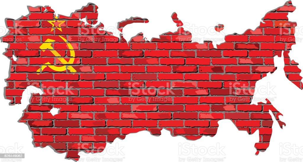 Sovyetler Birliği Harita üzerinde Bir Tuğla Duvar Stok Vektör Sanatı