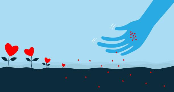 illustrazioni stock, clip art, cartoni animati e icone di tendenza di sowing the seeds of love - accudire