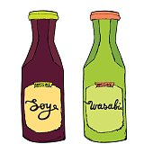 Soy and Wasabi bottles. Sauces set for sushi sea food. Hand drawn condiments. Artistic vector illustration.