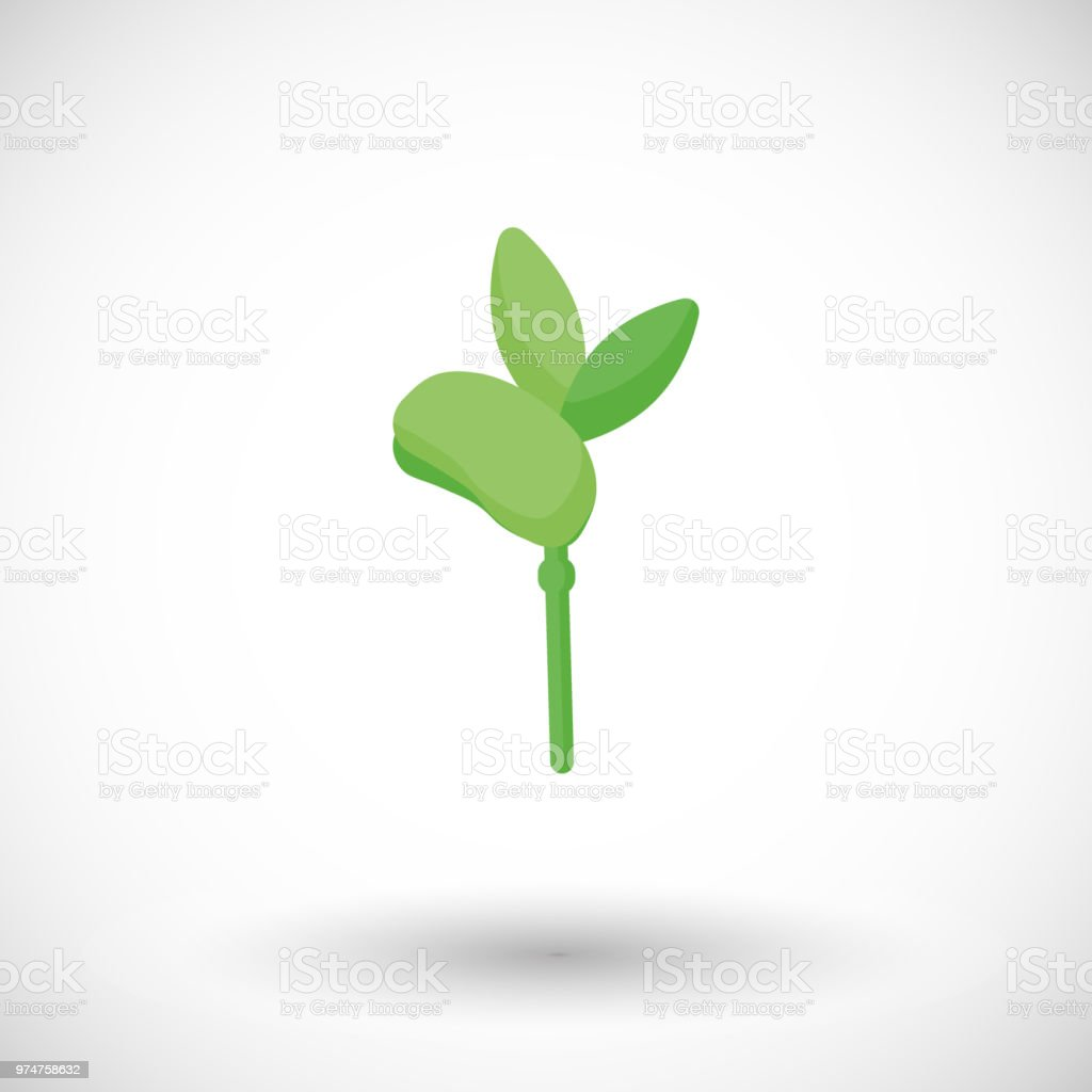 Soy bean sprout flat vector icon vector art illustration