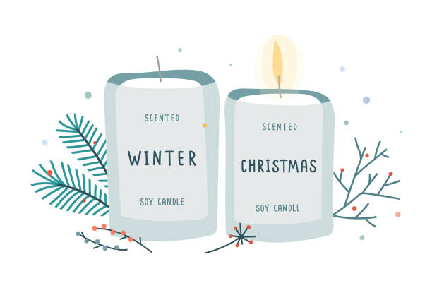 ilustrações de stock, clip art, desenhos animados e ícones de soy candle in glass jar decorated with fir branches, soy wax scented with christmas and winter mood scent. - hygge