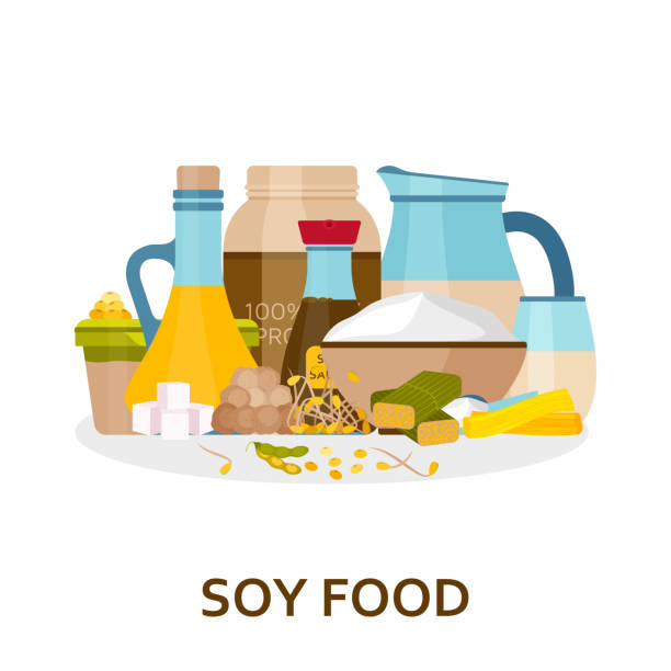 Soy food background in flat style Soy food background in flat style. Vector illustration. temps stock illustrations