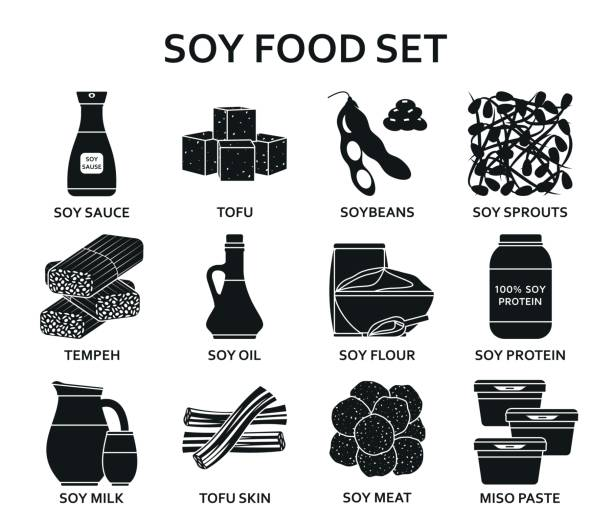 Soy food silhouette icons set Soy food silhouette icons set. Vector illustration. temps stock illustrations