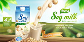 Soy milk ads with liquid pouring down into glass cup on bokeh green field background in 3d illustration
