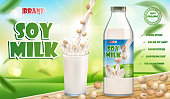 Soy milk bottle and glass with splash isolated on wooden table with bokeh. Soy milk products package design. 3d Vector illustration EPS 10