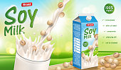 Soy milk ads with splashing liquid and wooden sign hanging in the air on bokeh green field background in 3d illustration EPS 10