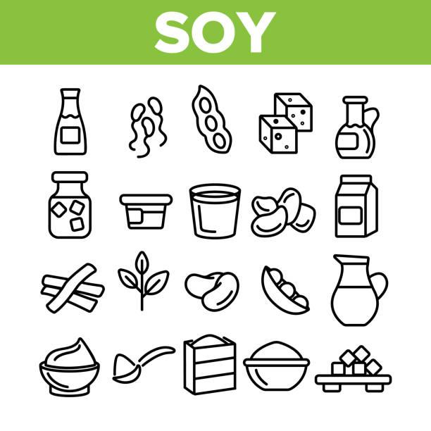 stockillustraties, clipart, cartoons en iconen met sojaproducten, voedsel lineaire vector icons set - vleesvervanger