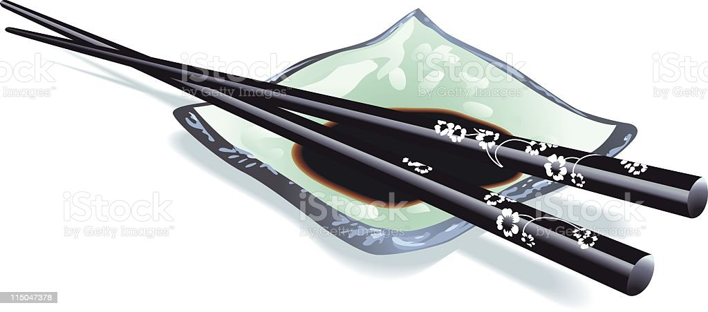 Soy sauce and chop sticks vector art illustration