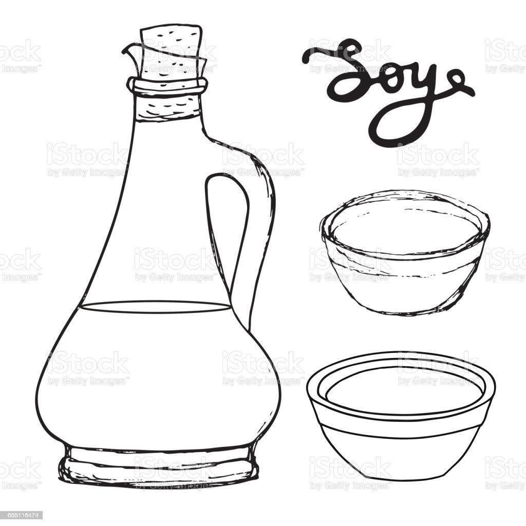Sojasauceflasche Mit Schalen Und Handgezeichneten Buchstaben Vector ...