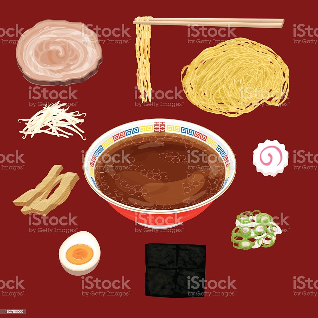 soy sauce ramen material vector art illustration