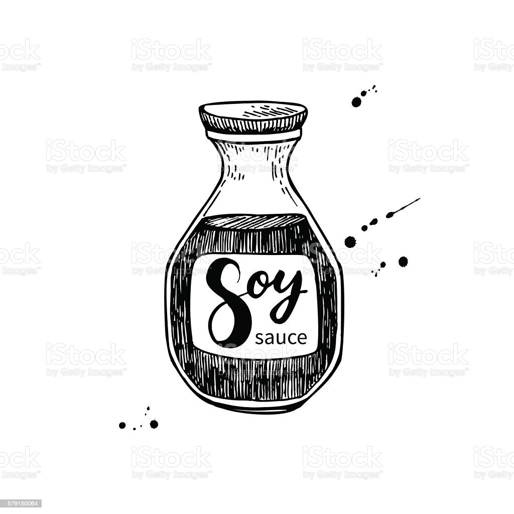 Soy sauce vector bottle. Isolated food drawing. vector art illustration