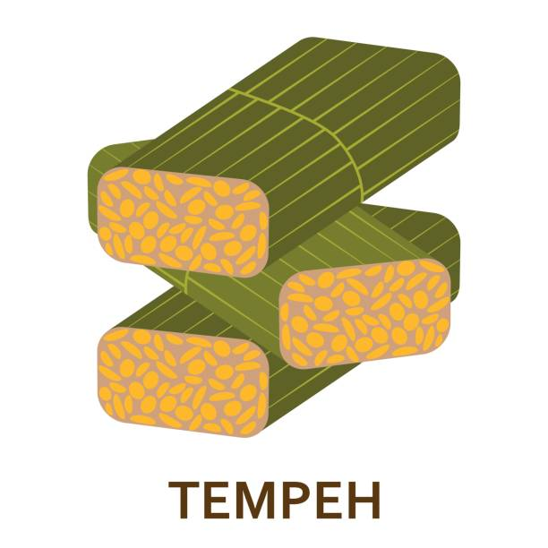 Soy tempeh flat icon. Vector illustration. Soy tempeh flat icon. Vector illustration. temps stock illustrations
