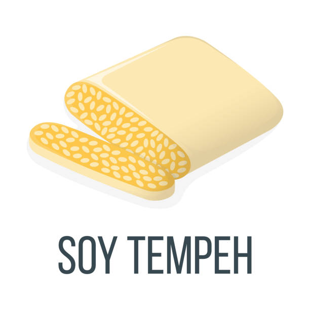 Soy Tempeh. Healthy Food Style, Concept Icon and Label. Natural Probiotics Symbol, Icon and Badge. Cartoon Vector illustration Soy Tempeh. Healthy Food Style, Concept Icon and Label. Natural Probiotics Symbol, Icon and Badge. Cartoon Vector illustration. temps stock illustrations