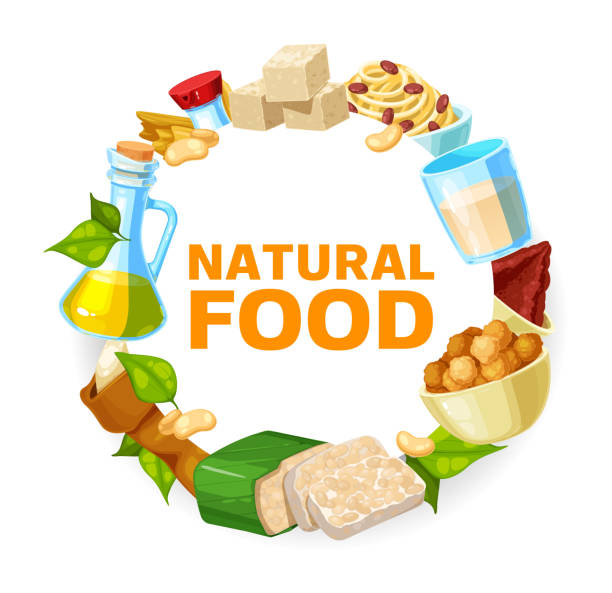 Soybean and soy products frame, soya food Soybean and soy products frame, vector soya food tofu and milk. Soybean tempeh skin and oil, organic vegetable protein soy meat and sauce, flour, cheese and butter, cooking ingredients temps stock illustrations