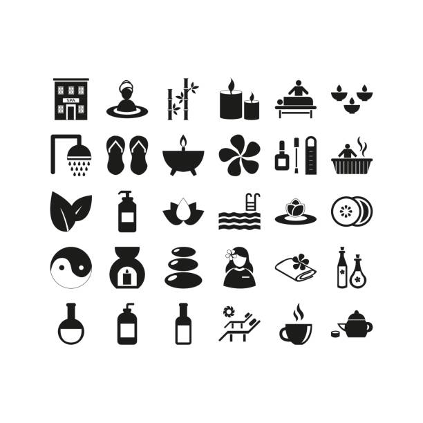 spa and beauty icon set - pebbles stock illustrations, clip art, cartoons, & icons