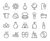 Spa and Beauty Light Line Icons Vector EPS File.