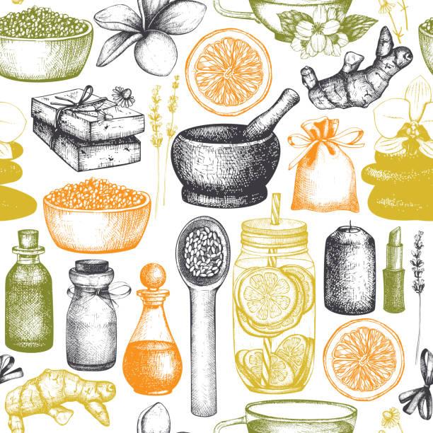 wellness- und beauty-muster - naturseife stock-grafiken, -clipart, -cartoons und -symbole
