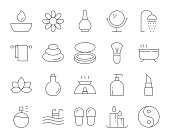 Spa and Beauty Thin Line Icons Vector EPS File.