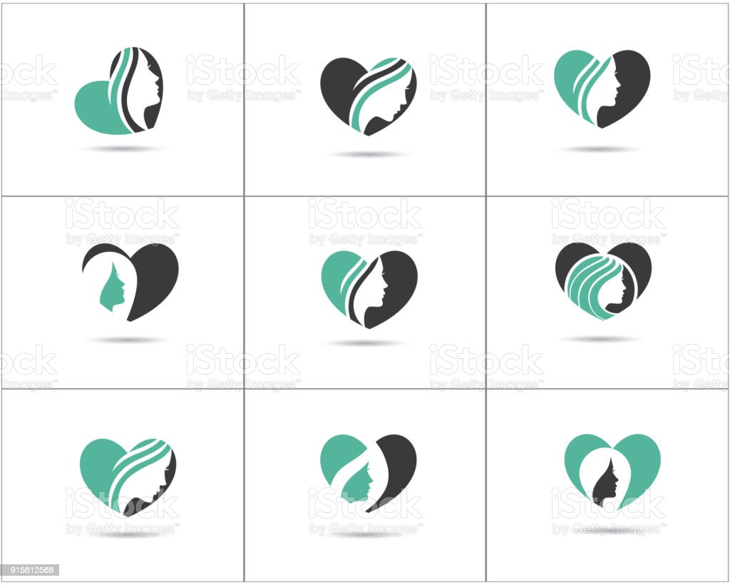 Spa And Salon Logo Design Set Beauty Lady In Heart Shape Vector Icons Cosmetics