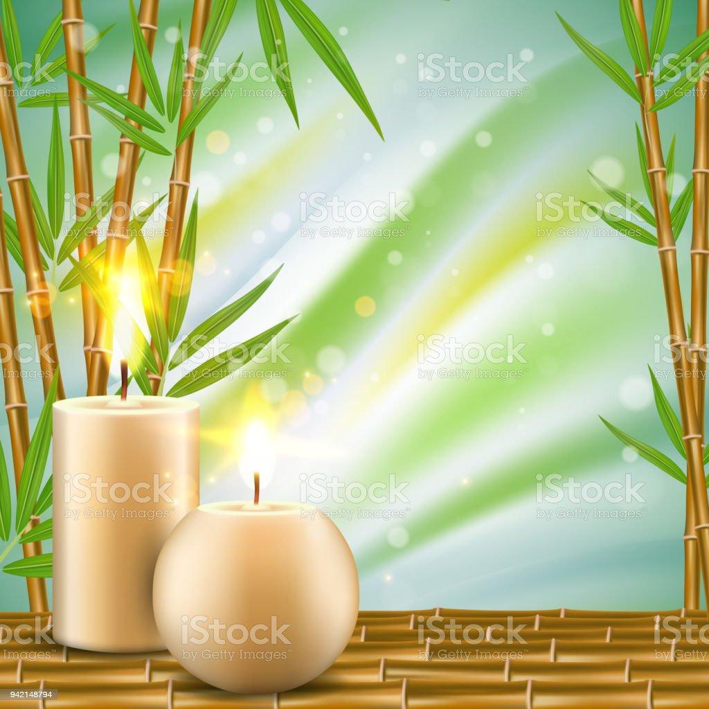 Spahintergrund Mit Bambus Und Aroma Kerzen Realistische Vektorgrafik