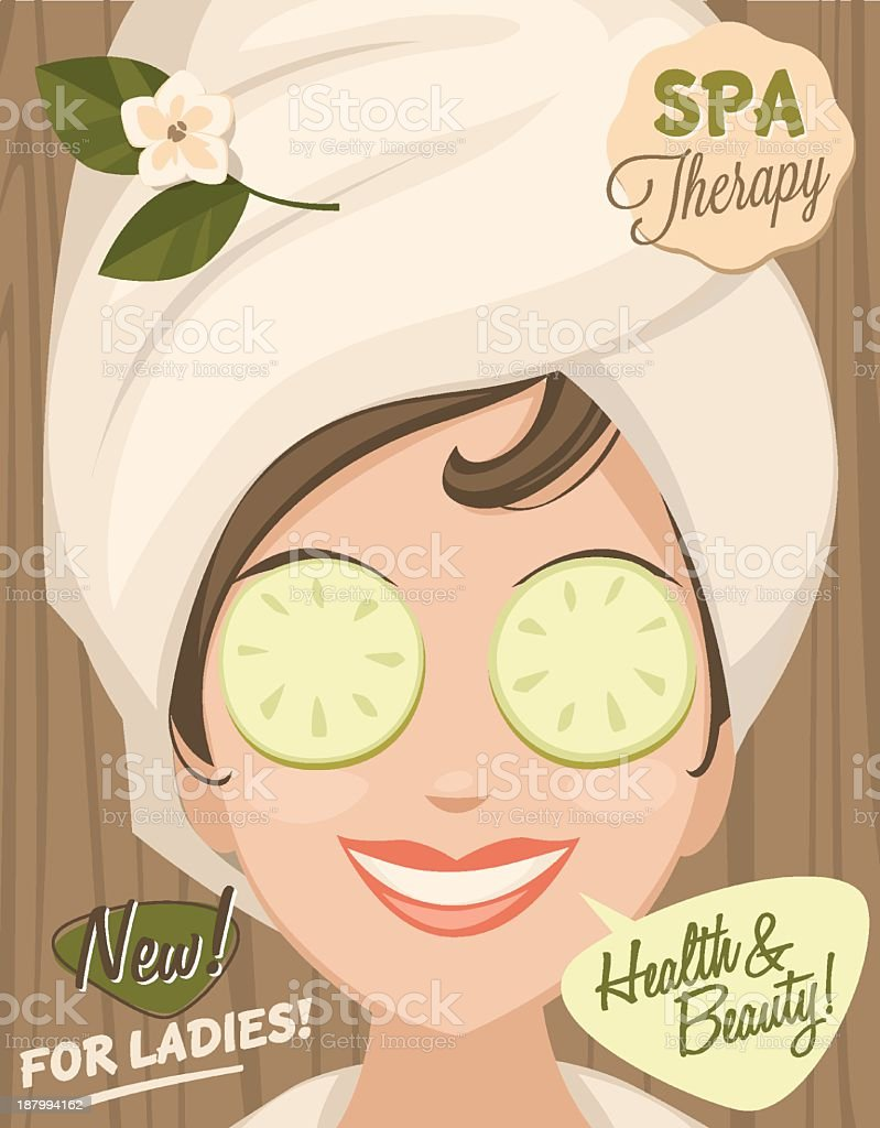 Spa banner for ladies with health and beauty vector art illustration