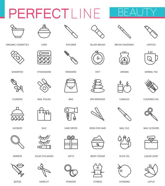spa beauty and cosmetic thin line web icons set. outline stroke icon design. - beauty stock illustrations, clip art, cartoons, & icons