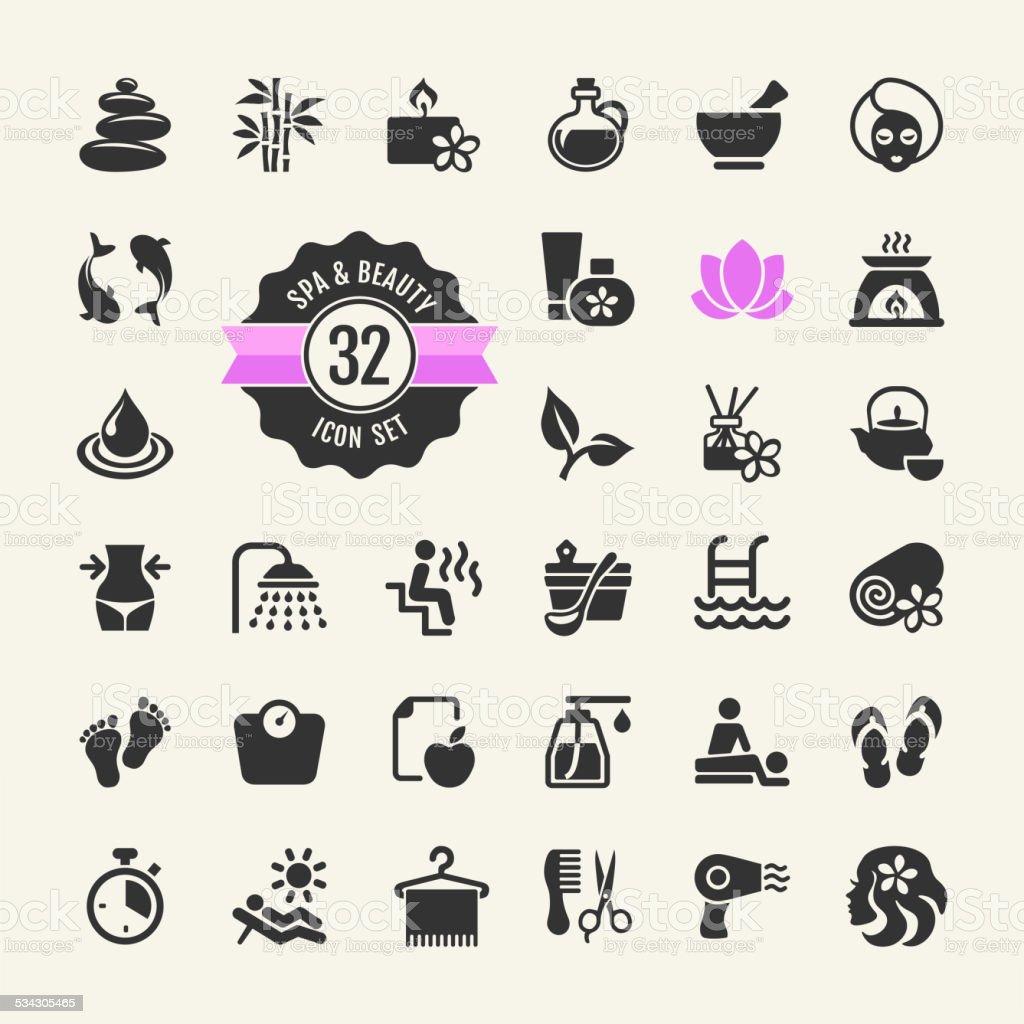 Spa & Beauty Icons Set vector art illustration