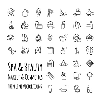 Spa, Beauty, makeup and cosmetics thin line vector icons set clipart