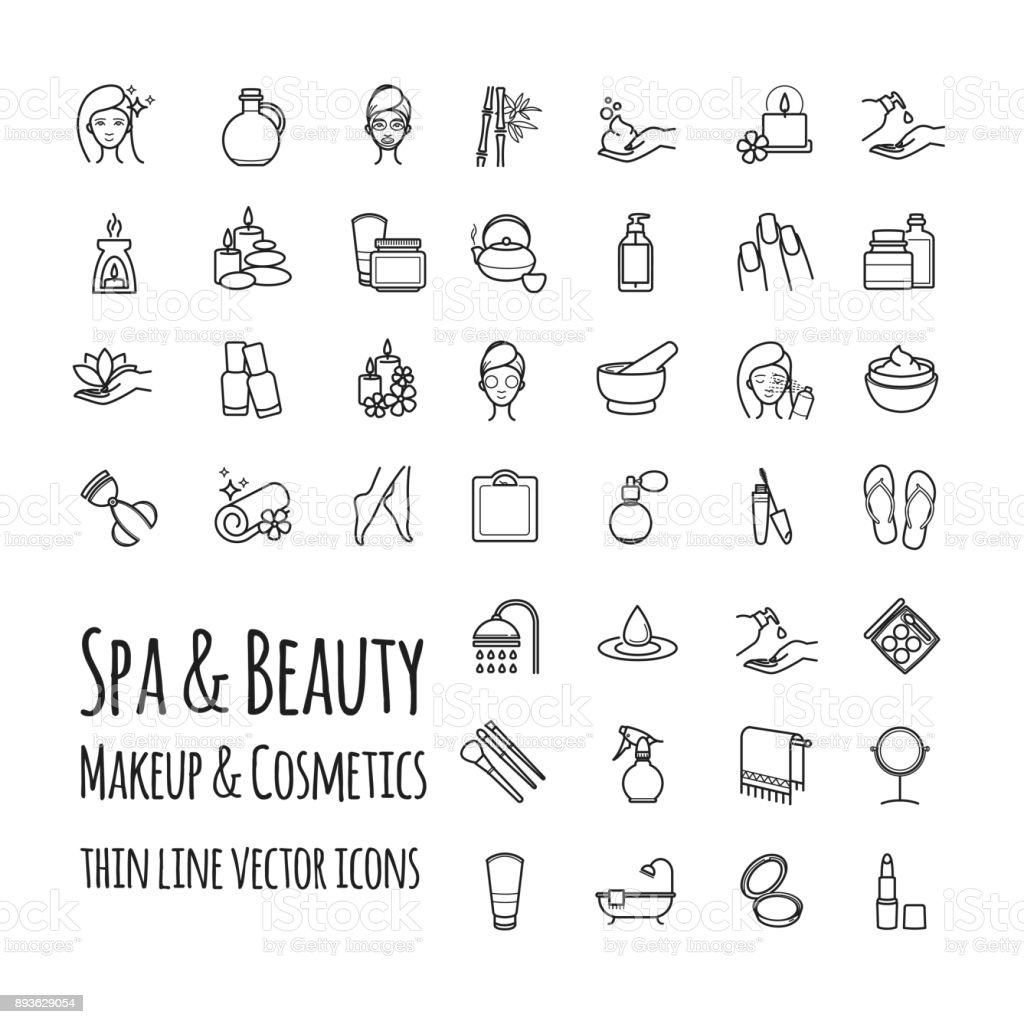 Spa, Beauty, makeup and cosmetics thin line vector icons set vector art illustration