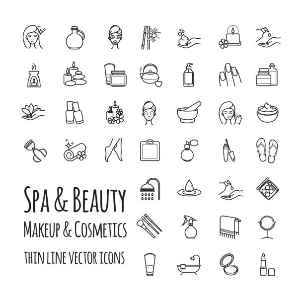 stockillustraties, clipart, cartoons en iconen met spa, beauty, make-up en cosmetica dunne lijn vector icons set - skincare