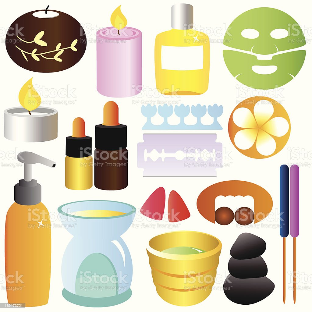 Spa, Beauty, Relaxation, massage Set (Vector Icons) royalty-free stock vector art